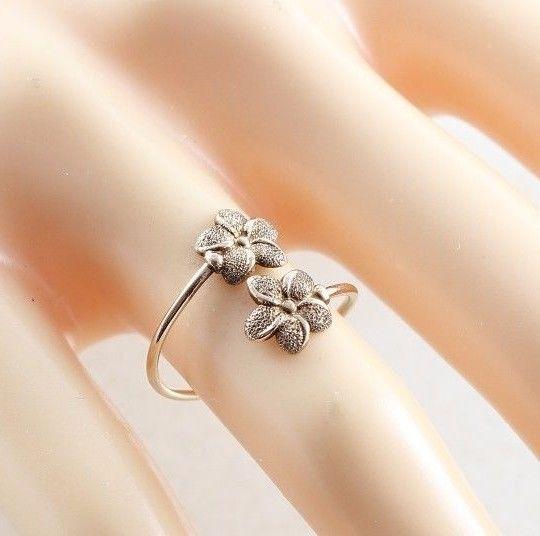 14k Rose Gold Flower Ring Bypass Ring Size 4 3/4
