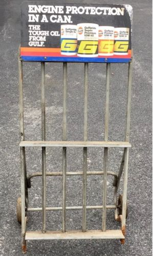 Vintage Gulf Motor Oil Can Display Rack
