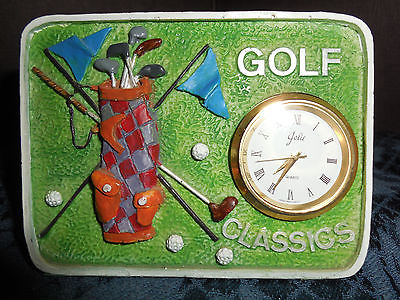 VINTAGE SMALL JOLIE QUARTZ GOLF CLASSIC TABLE TOP CLOCK EUC