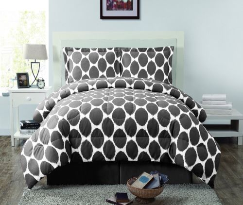 Geneva Home Fashions 8pc Oval Reversible Comforter Set, Gray/White, Queen