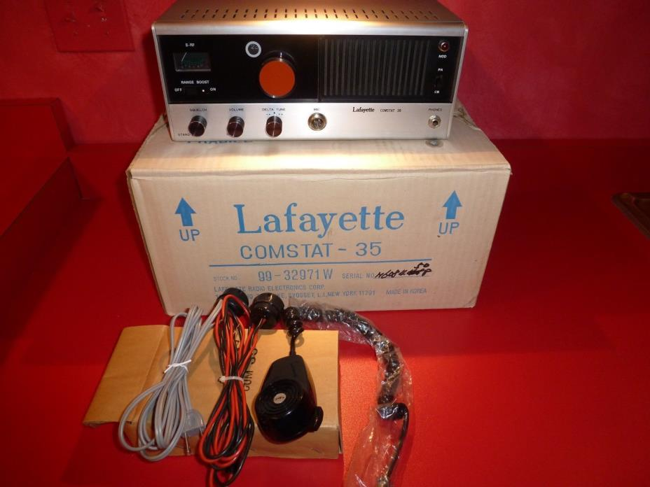LAFAYETTE COMSTAT 35 BASE CB RADIO TUBE TYPE WITH MIC & POWER CORDS IOB WOW !!