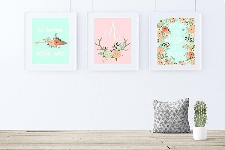 Coral and Mint Nursery Decor, Girl Nursery Art, Boho Nursery Decor, Set of 3 pri