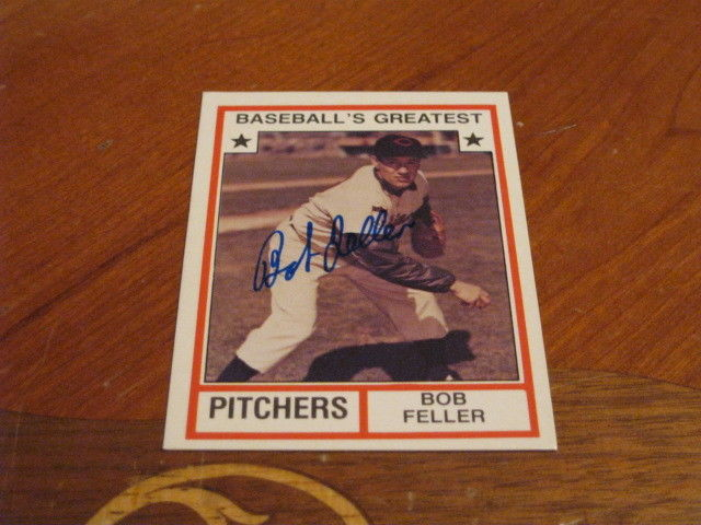 Bob Feller Autographed Baseball Card JSA Auction Cert 6