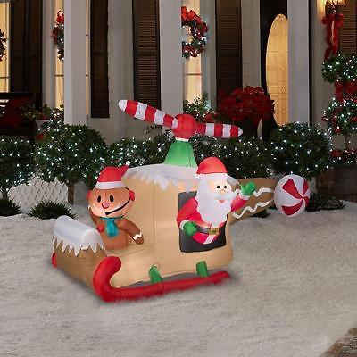 CHRISTMAS SANTA ANIMATED HELICOPTER GINGERBREAD MAN INFLATABLE AIRBLOWN YARD