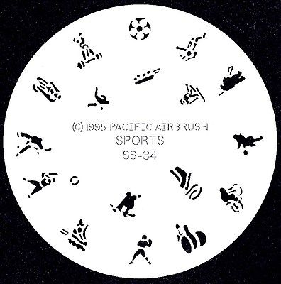 SPORTS SPORTING EVENTS #34 FINGERNAIL AIRBRUSH STENCIL AIRBRUSHING NAIL ART