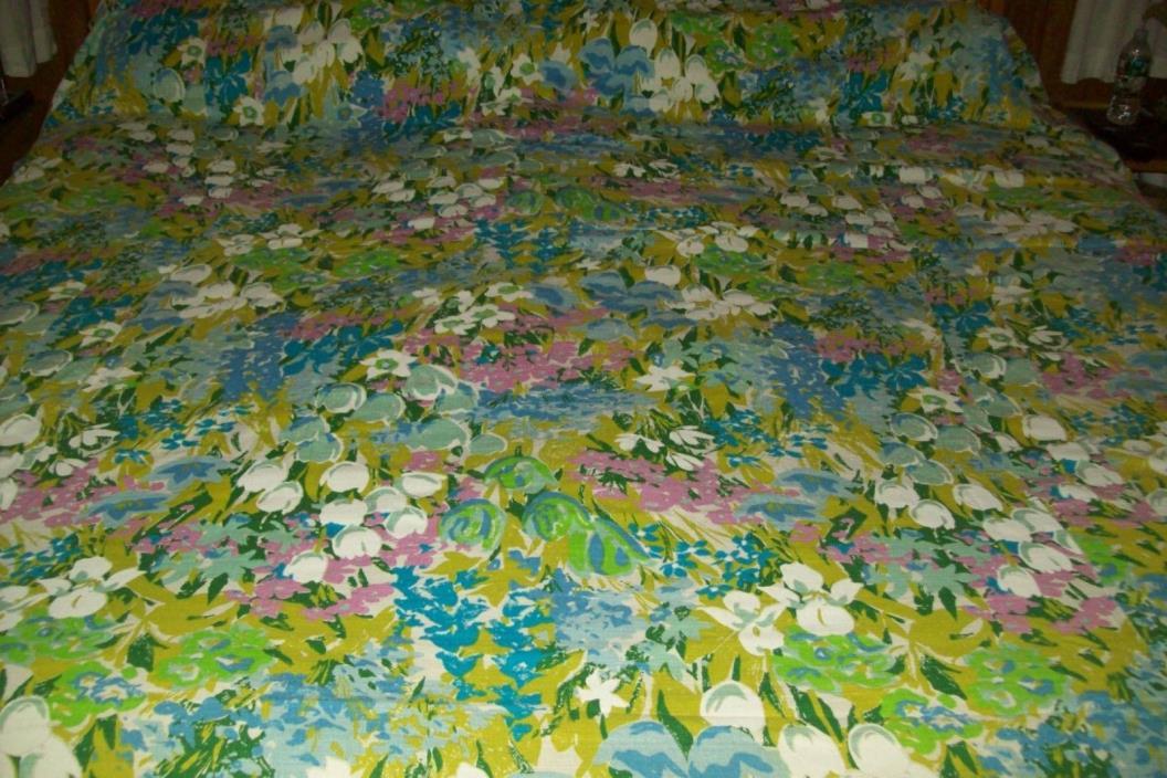 Vintage Barkcloth Floral Tulips Green Purple White Bedspread 93 x 101 TWIN