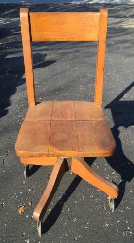 Vintage Wood Rolling Desk Chair