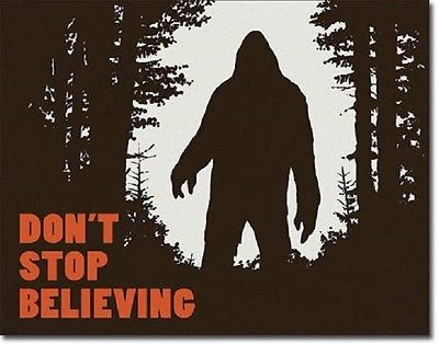Sasquatch Don't Stop Believing Attention Humor Funny Wall Decor Metal Tin Sign