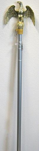 8 Foot Aluminum Silver Pole with (Eagle)
