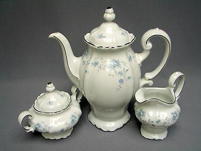 JOHANN HAVILAND BAVARIA BLUE GARLAND COFFEE POT, CREAMER, AND SUGAR WITH LID