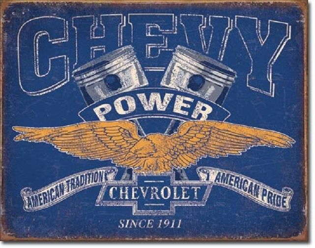 Chevy Power Logo Dealer Service Car Garage Wall Decor Retro Metal Tin Sign New