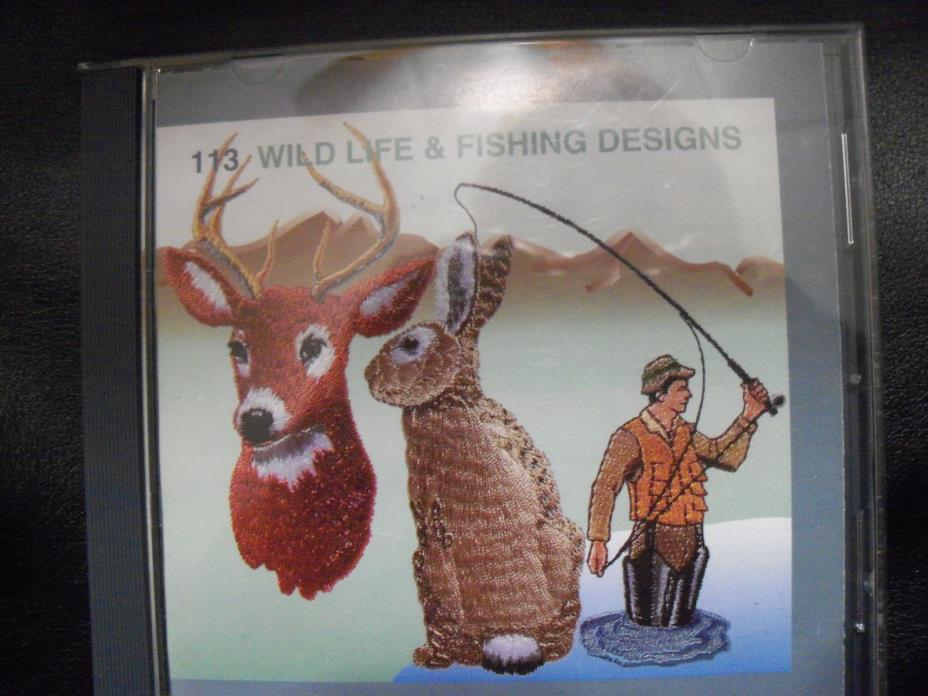 janome sewing  machine # 113 memory card wildlife & fishing designs