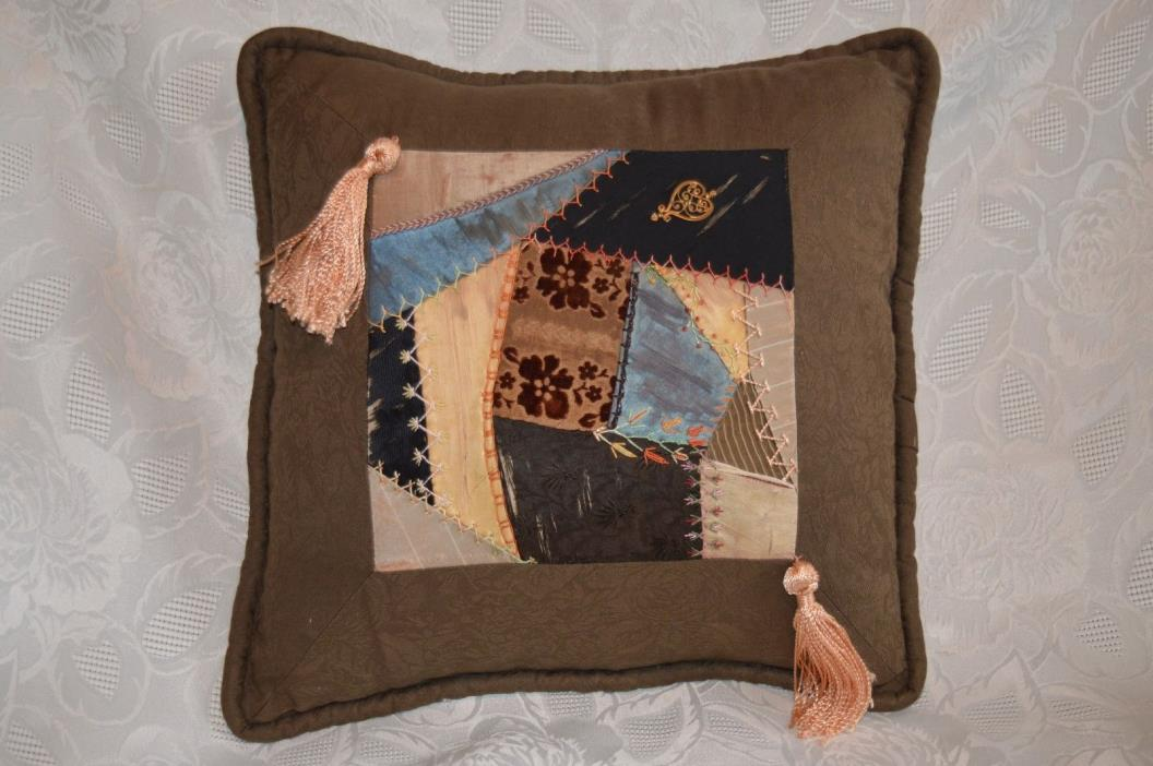 VTG pillow w. antique crazy quilt panel 1800s 19th century embroidered