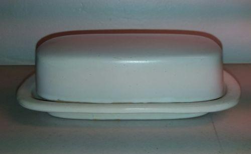Vintage McCoy Pottery Matte White  Butter Dish