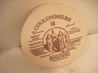 OLD WOOD-WOODEN COULOMMIERS FRENCH CHEESE BOX CRATE ADVERTISING