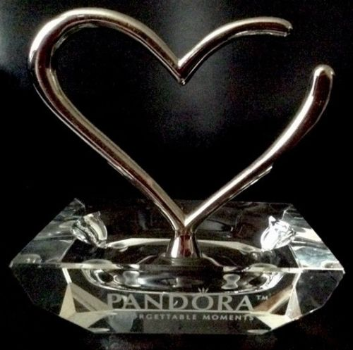 PANDORA Valentine Heart Engraved Bead Ring Bracelet Jewelry Holder Organizer