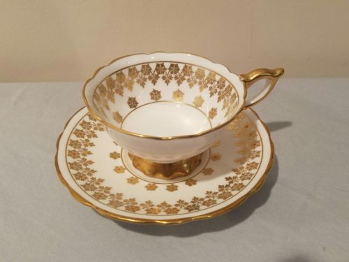 Royal Stafford 8374 Footed Teacup & Saucer 1960s Gold Flowers Pink Blue Center