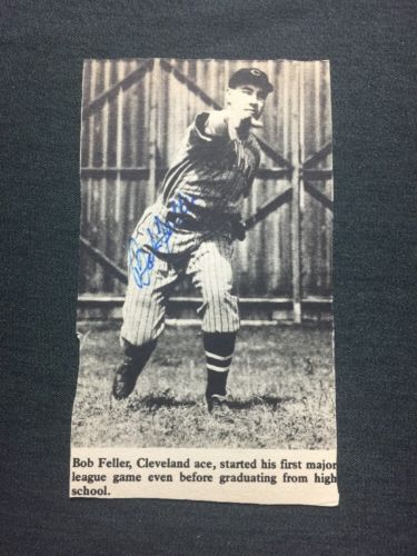 Newspaper Cut Out BOB FELLER AUTOGRAPH SIGNED HALL OF FAME