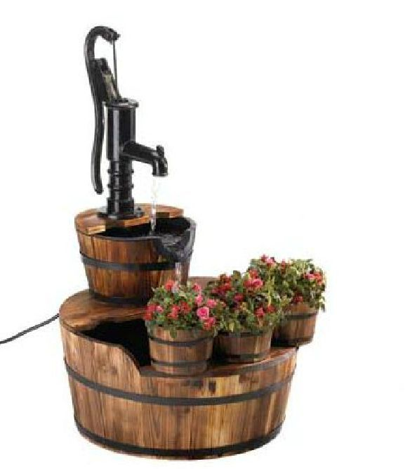 Pump & Barrel Fountain Wood Planter Cascading Water Fall Vintage Flower Plant