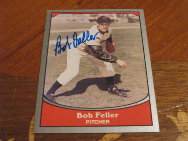 Bob Feller Autographed Baseball Card JSA Auction Cert 8