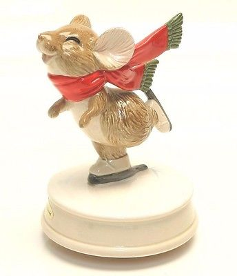 Otagiri Japan Gibson Greetings Skating Mouse Music Box Skaters Waltz AB1
