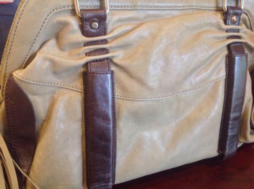 NWT  Nanette Lepore Taupe & Brown Leather Cinched Satchel Hobo Handbag $495