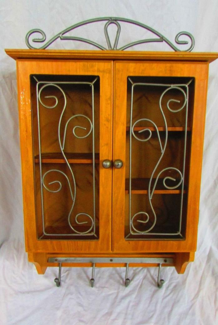 Decorative Wall Cabinet With Hooks, Doors Cutout With Metal Design