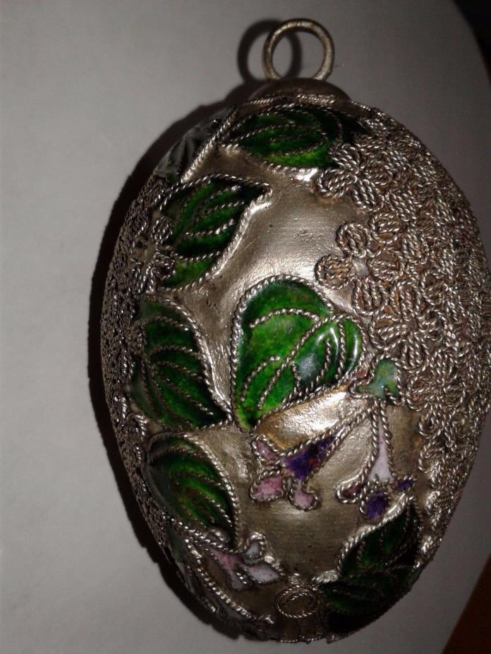 Vintage cloisonne egg enamel silver Ornament Chinese cloisonne Easter Egg