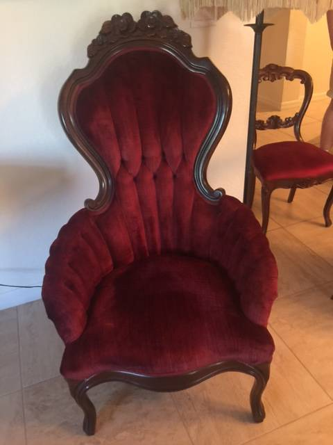 Pair of Antique Mahogany Arm Chairs in Red Fabric