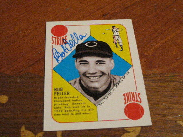 Bob Feller Autographed Baseball Card JSA Auction Cert 10