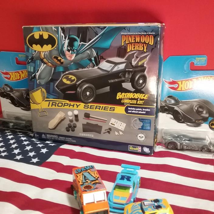 trophy series pinewood derby batmobile  boys scout edition and  batmobile by HW