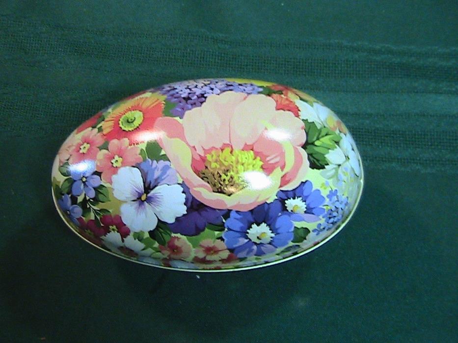 Vintage large  Metal Tin Easter Egg floral trinket candy box