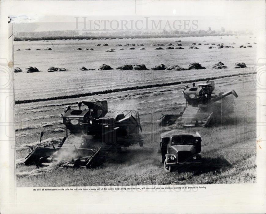 1961 Press Photo Harvesting Equipment on Farm, USSR