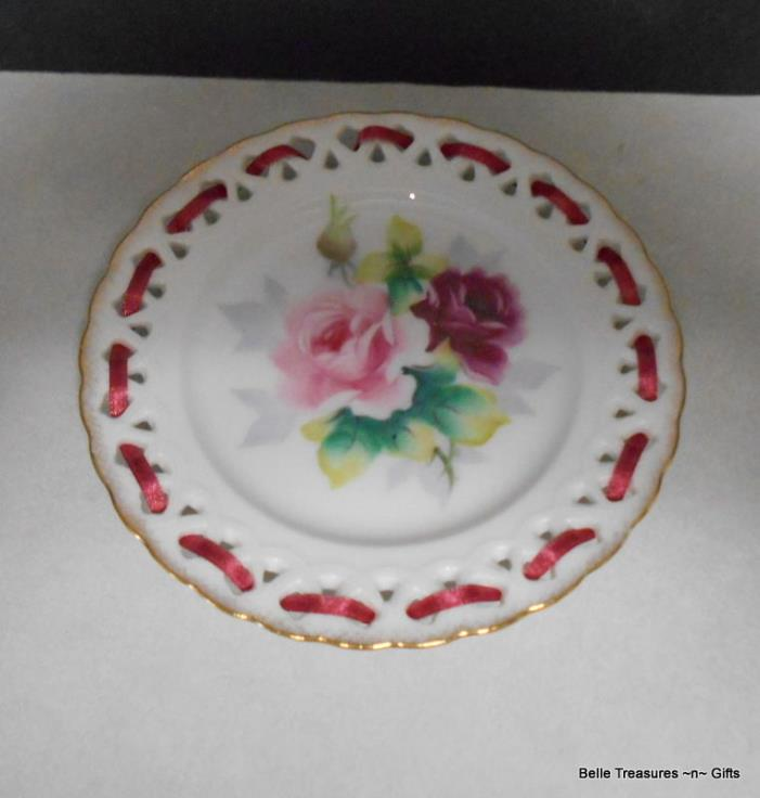 Decorative Lattice Rose Plate