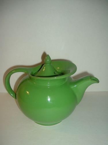 Vintage Hall China USA Green Windshield Teapot