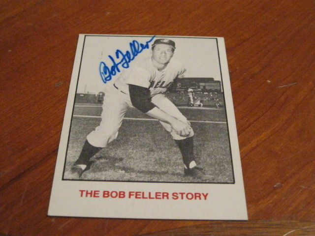 Bob Feller Autographed Baseball Card JSA Auction Cert 4