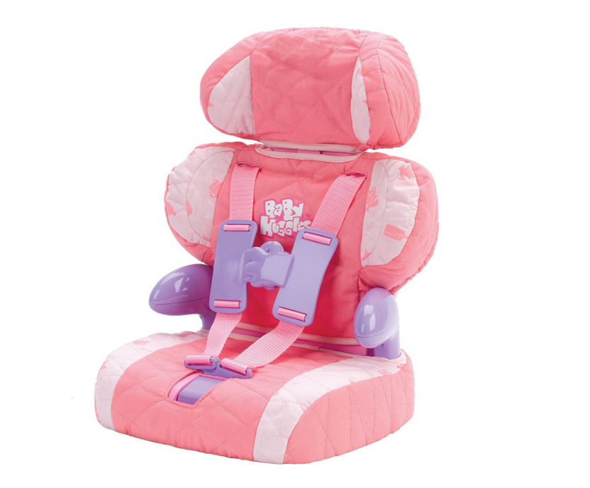 Doll Car Seat and Booster with Seatbelt for Dolls and Stuffed Animals Pink