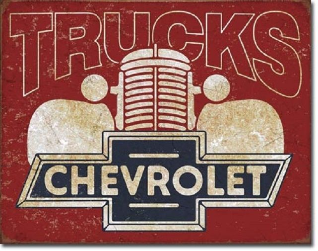 Chevy Trucks 40's Logo Dealer Service Car Wall Garage Decor Retro Metal Tin Sign