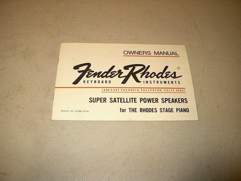 VINTAGE FENDER RHODES PIANO SUPER SATELLITE POWER SPEAKERS MANUAL # 011099