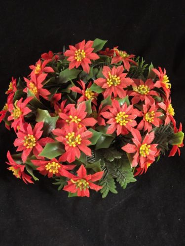 Vintage Christmas Candle Ring Holder Wreath Plastic Poinsettia