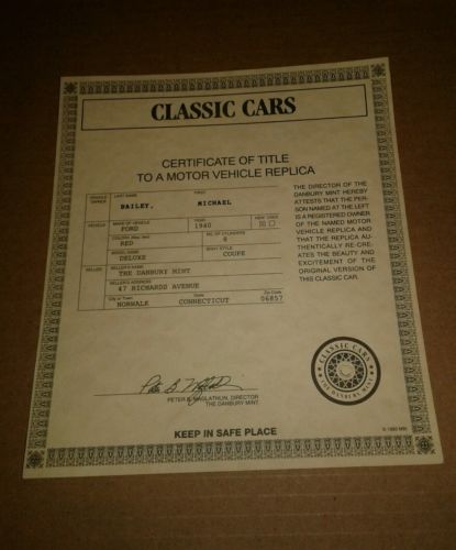 Danbury Mint 1940 Ford Deluxe Coupe Red - TITLE PAPER