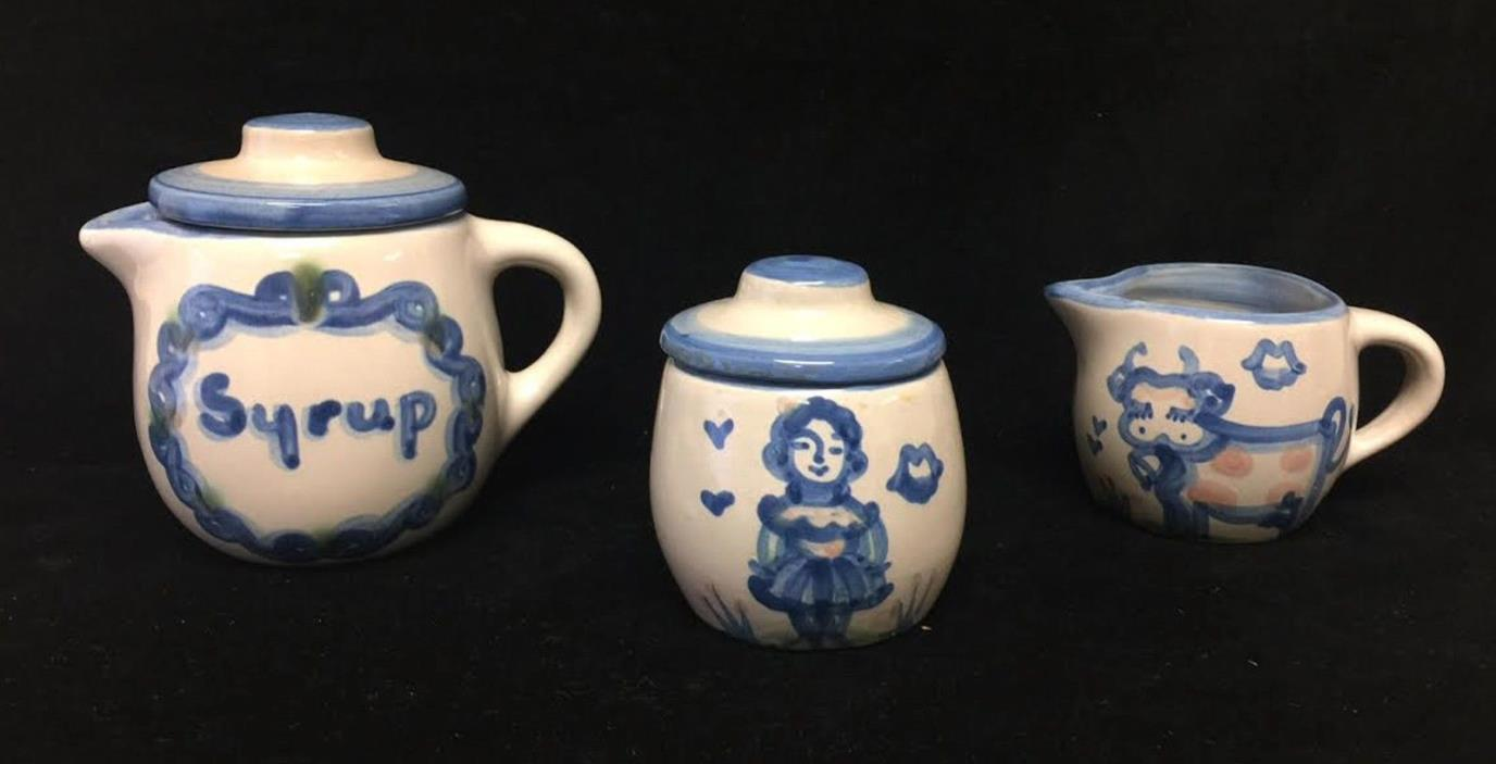 Vintage MA Mary Hadley Pottery Sugar Creamer Syrup Container Cow Farm Motif