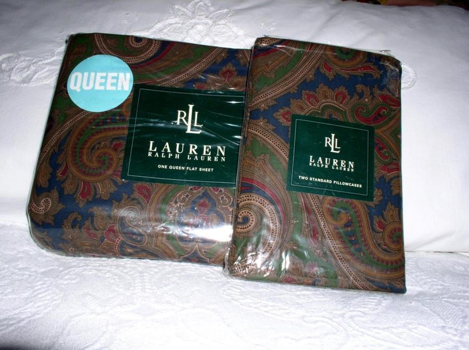 RALPH LAUREN ELIZABETH BRIANNA PAISLEY QUEEN Flat Sheet & Standard Pillowcases