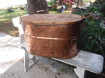 Antique copper wash tub/ boiler with handmade wood lid use for end table/ storag