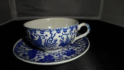 Vintage Blue & White Phoenix Bird China Cup with Saucer