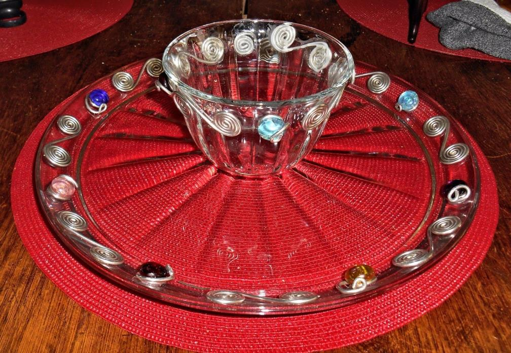 Elegant Clear Chip And Dip Dish ,