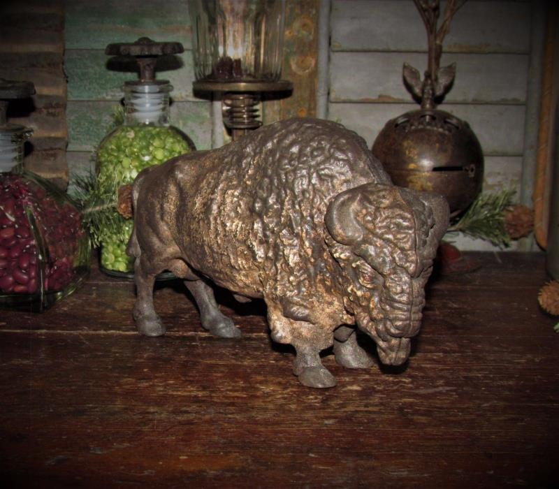 Original Antique Vtg Cast Iron Art Smithy Buffalo Bison Still Penny Bank Toy
