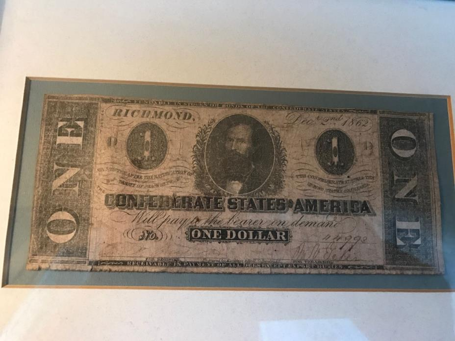 Confederate Currency One Dollar Bill