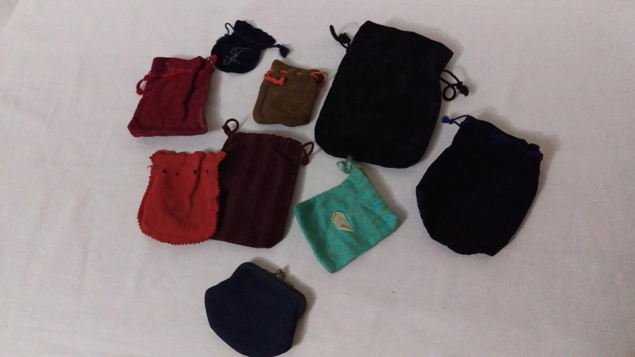 LOT 9 Mixed JEWELRY GIFT POUCH BAGs