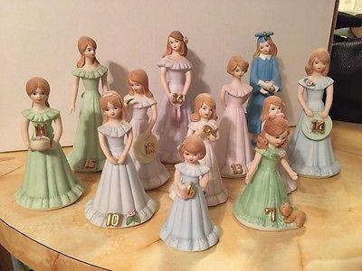 Enesco Growing Up Porcelain Birthday Girl Figurines